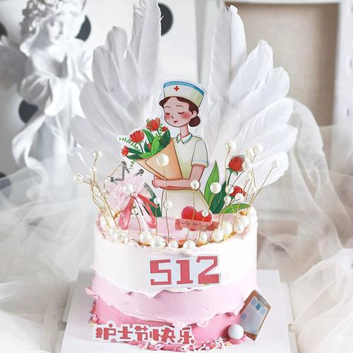 护士节烘焙蛋糕装饰512白衣天使医生抗疫英雄网红生日