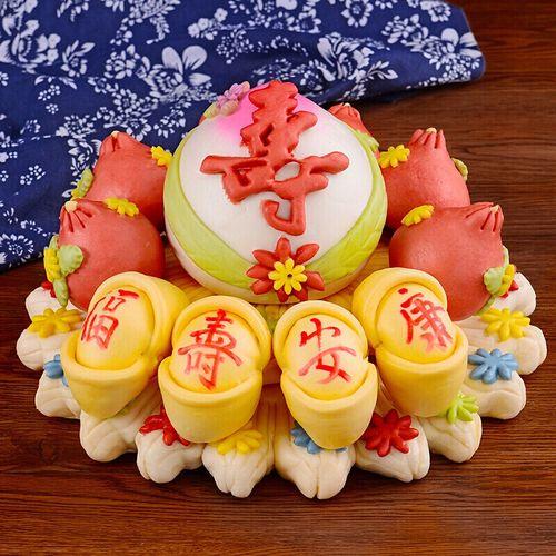 5折 寿桃馒头生日老人胶东花饽饽寿包祝寿馒头中式蛋糕花馍馍 组合二