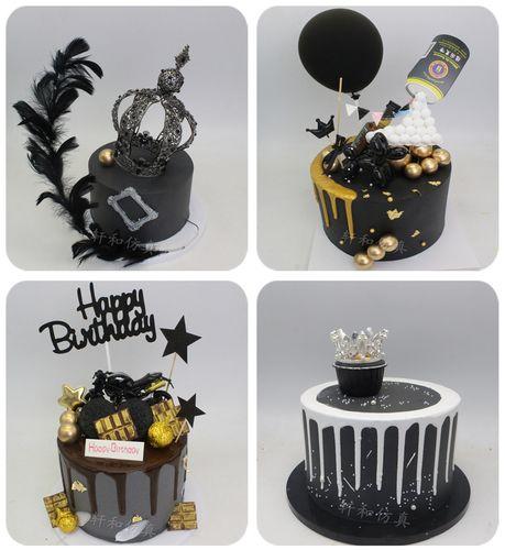 创新仿真蛋糕模型女神黑皇冠啤酒罐摩托车男神生日派对假蛋糕模型