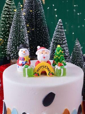 圣诞节圣诞老人一套树可食用糖公仔雪人翻糖蛋糕摆件