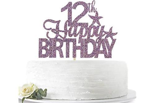 紫色闪光 12 岁生日快乐蛋糕装饰,hello 12,12 岁派对