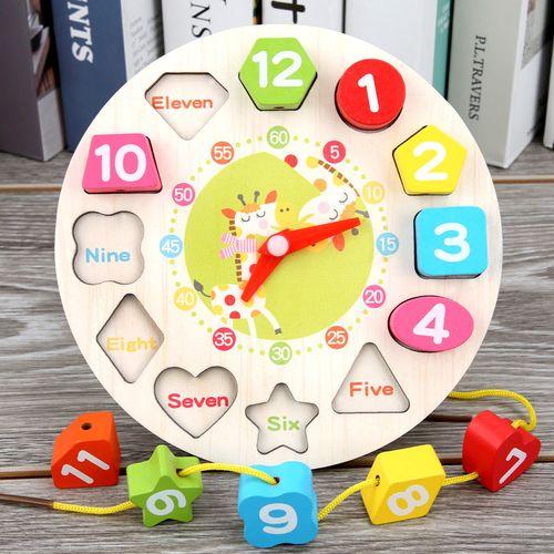 儿童益智配对积木1-2-3周岁宝宝早教数字形状认知时钟
