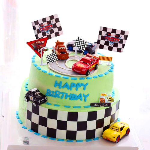 烘焙蛋糕装饰小汽车摆件创意赛车旗儿童生日蛋糕配件