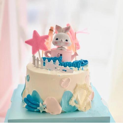 蛋糕装饰摆件 可爱水壶兔子流苏插旗烘焙 生日派对甜品台装扮插件