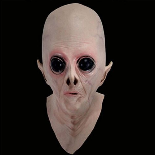 外星人头套 外星人头套电影主题面具cos鬼面具恐怖成人吓人乳胶头套