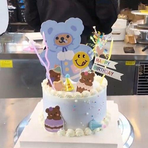 贺卡小熊蛋糕装饰插件 韩国ins风可爱小熊可写字插件生日蛋糕装扮