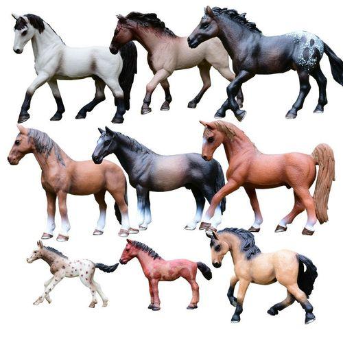 仿真野生动物模型实心儿童玩具俊马公母马草原家居摆件微景观小马