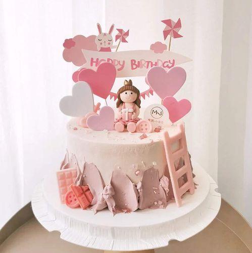 烘焙蛋糕装饰软陶小王子小公主摆件可爱小兔子爱心插
