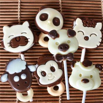 千焙屋巧克力牛奶棒熊猫宝宝猴子小狮子维尼熊棒棒糖款小动物 5支尝鲜