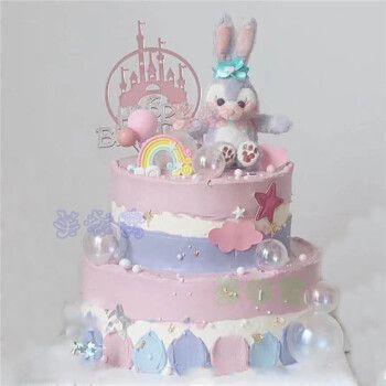网红黛露兔子生日蛋糕儿童女孩卡通玩偶黛拉生肖兔同城全国上海