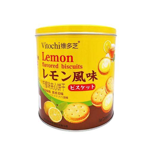 vitochi维多芝柠檬味夹心饼干300g罐装柠檬小饼干点心