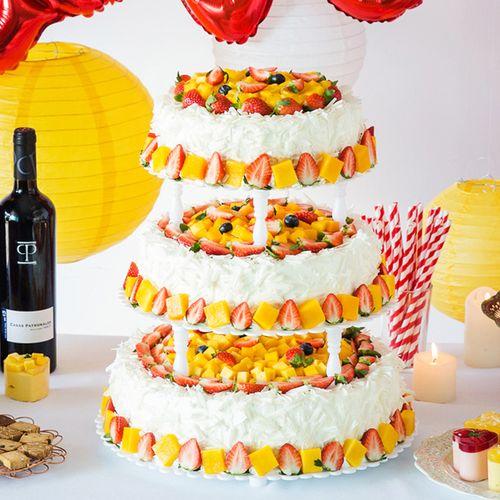 【15磅步步高升 三层大蛋糕】适合30~40人食用,宴会,婚礼,庆功,庆典