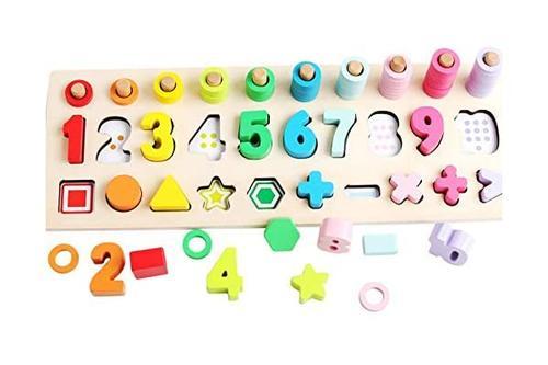 na montessori 数学形状玩具学前数数早教玩具数学形状拼图玩具幼儿