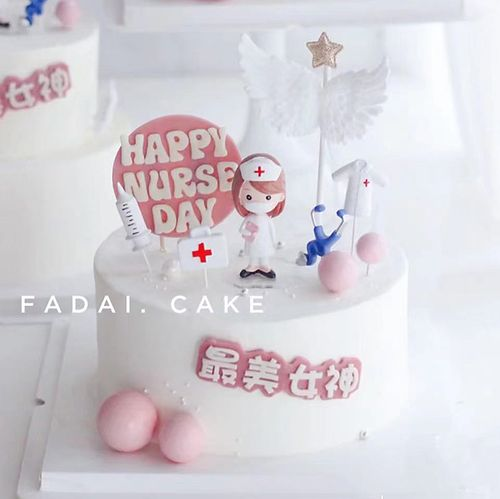 护士节生日蛋糕装饰网红ins风白衣天使医生标签装饰烘焙插牌插件