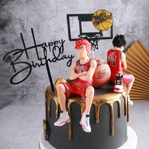 烘焙生日蛋糕装饰摆件灌篮高手樱木流川枫插牌篮球鞋