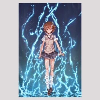 御坂美琴动漫海报超清防水墙纸墙贴画魔法目录可来图定制 pj23 30