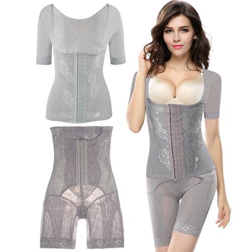 产后塑身衣收腹内裤女分体套装短袖排扣束腹束腰美体