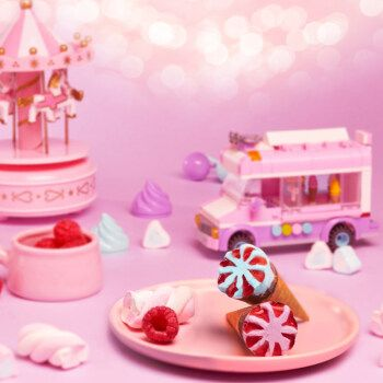 冰淇淋香草棉花糖红覆盆子小甜脆筒冷饮 迷你可爱多香草2+蓝莓草莓2