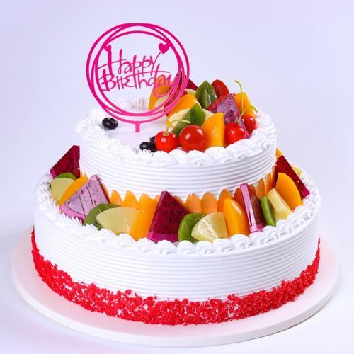 仿真生日蛋糕模型 2020新款双层水果蛋糕模型 欧式假