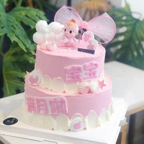 树脂奶瓶男女周岁宝宝蛋糕摆件家居装饰生日儿童玩偶