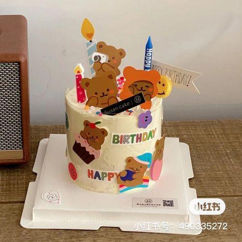 小红书同款网红ins韩国可爱卡通小熊生日蛋糕装饰笑脸