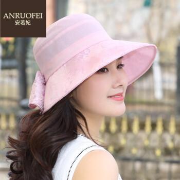 安若妃轻奢品牌渔夫帽女夏季新款户外大沿防晒帽防紫外线遮阳帽子女