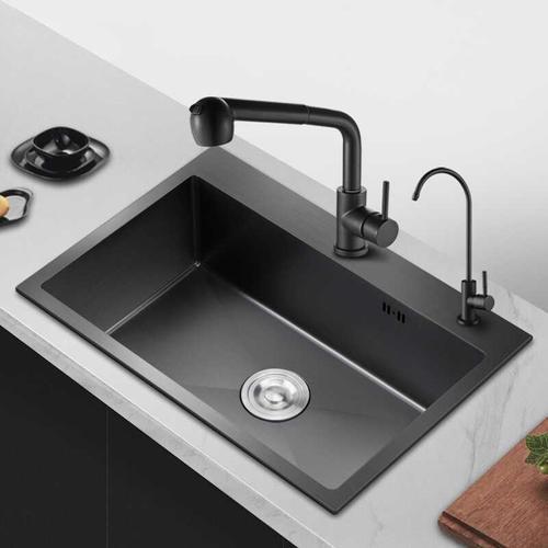 不锈钢纳米水槽洗菜盆美式加厚黑色洗碗池304不锈钢龙头水槽套.