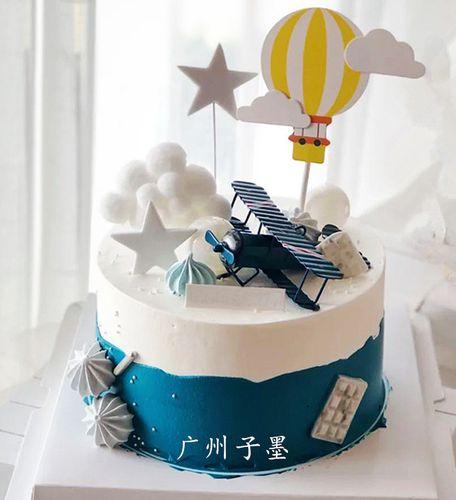 广州子墨2020新款男孩主题生日复古飞机蛋糕模型卡通