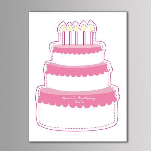 个性定制 生日派对baby shower 三层蛋糕指纹diy签到