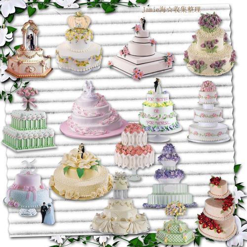 506画布海报展板喷绘素材图片贴纸71欧美风格可爱结婚蛋糕素材