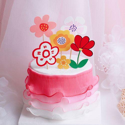 小红花烘焙蛋糕装饰摆件彩色花朵生日插卡纱围边甜品