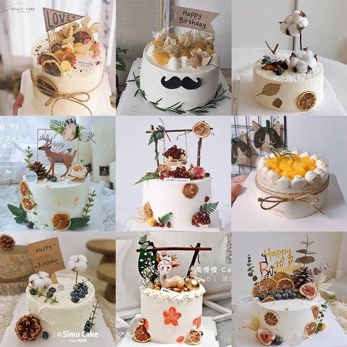 可食用蛋糕装饰 西柚干柠檬干 ins简约森系生日蛋糕装饰插牌插件