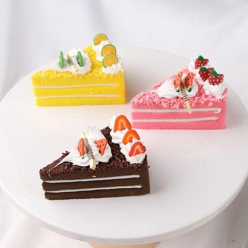 仿真蛋糕模型三角形水果甜品慕斯点心假食物面包道具