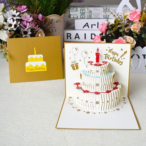 创意生日贺卡立体3d手工纸雕儿童员工通用生日卡片定制logo祝福语