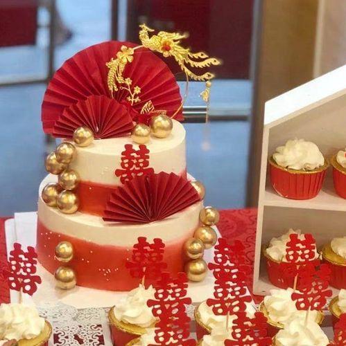 中式婚礼凤凰于飞插件订婚蛋糕装饰红喜中国风结婚甜品台装饰品