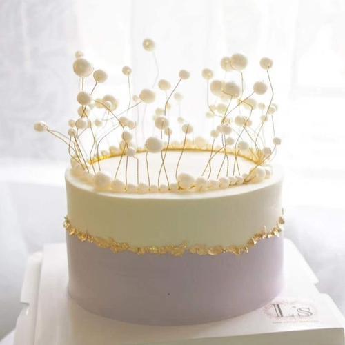 生日蛋糕摆件公主简约女王海草网红唯美烘焙流苏珍珠