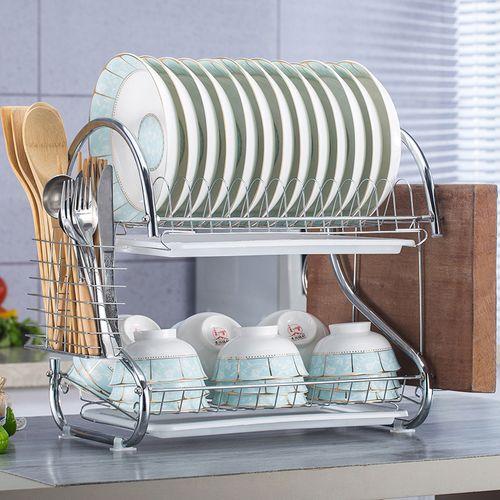 厨房置物架双层沥水碗碟架放碗筷沥水架碗架收纳架子