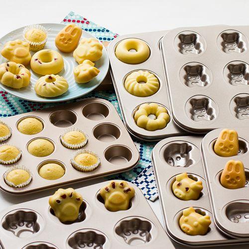 卡通6/9/12连模猫咪造型甜甜圈马芬小蛋糕杯diy烤箱模具 烘焙工具