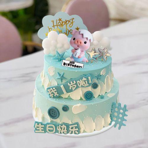 仿真生日蛋糕模型2021新款流行双层定制卡通儿童男孩