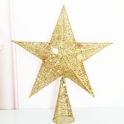 圣诞树顶饰物挂件星星顶装饰北欧风格顶星星圣诞树金色发光五网红