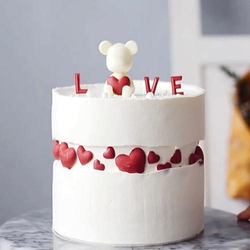love爱心小熊蛋糕装饰摆件立体硅胶模七夕节情侣