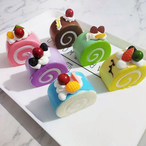 蛋糕卷模型假奶油慕斯冰箱贴食物装饰水果面包橱窗摆设品玩具