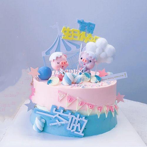 网红新款奶瓶小猪一周岁仿真蛋糕  皇冠小王子生日蛋糕模型 kt猫