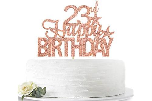 玫瑰金闪光 23岁生日快乐蛋糕装饰 hello 23岁欢呼 23岁 23岁派对装饰