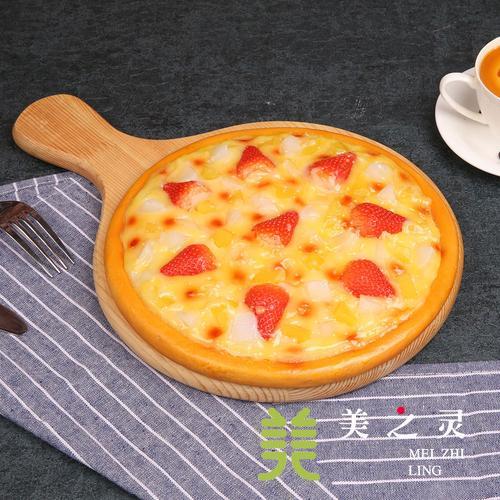 定制新品仿真草莓椰果水果披萨模型 假菜肴前台展示