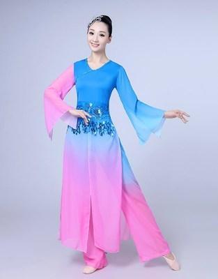 j古典舞演出服女飘逸雪纺秧歌舞蹈扇子舞伞舞中国风中老年表演服