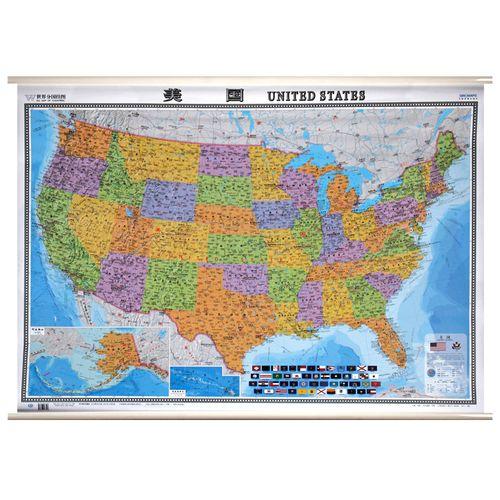 【挂墙地图】中英文版美国地图 世界分国2019年版行政