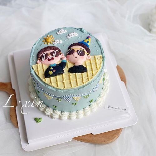 烘焙蛋糕装饰墨镜生日父子软陶双层生日快乐蓝色系小