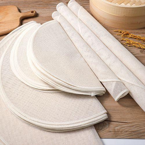 蒸笼布不粘纯棉纱布家用食品级蒸布圆形蒸饭笼布蒸馒头包子蒸笼垫 5片