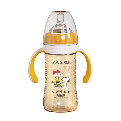 史努比宽口ppsu奶瓶240ml婴儿带手柄宝宝防呛奶瓶 小